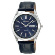 Seiko® Men's Solar Powered Blue Dial Watch