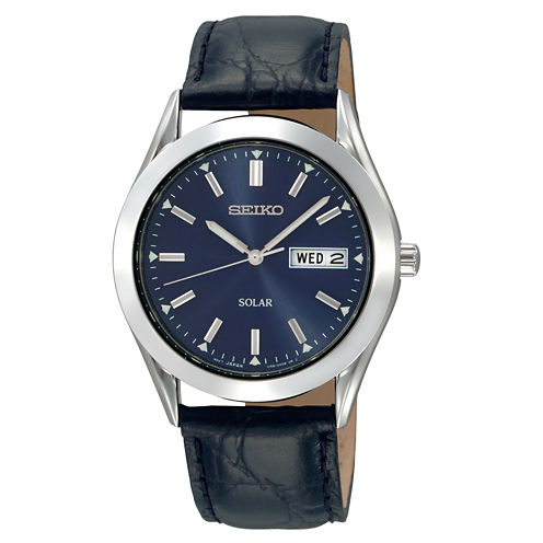 Seiko® Mens Blue Dial Solar Watch SNE049