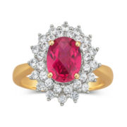 Lab-Created Ruby and White Sapphire Ring