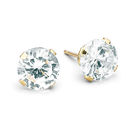 Cubic Zirconia Studs, 14K Yellow Gold 4mm