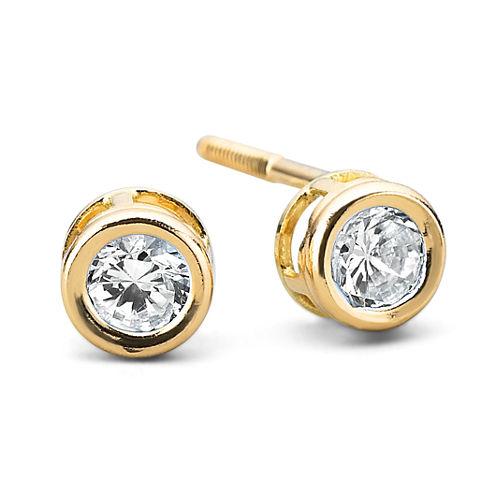 Girls 14K Gold Cubic Zirconia Bezel Set Earrings