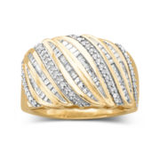 1/4 CT. T.W. 14K Gold Over Silver Diamond Ring