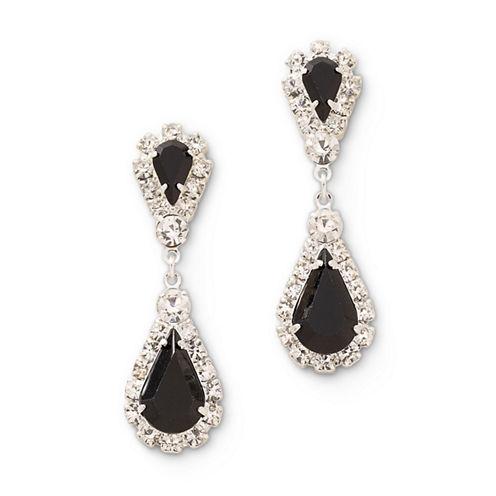Vieste® Black and Clear Rhinestone Teardrop Earrings