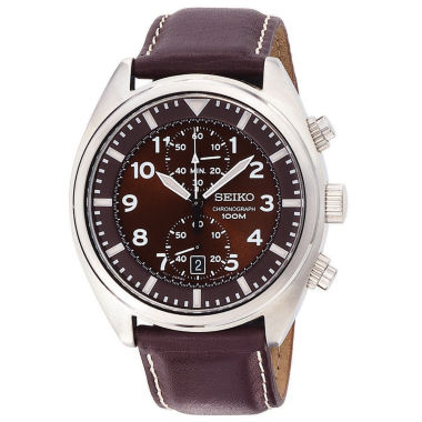 jcpenney.com | Seiko® Mens Brown Leather Strap Chronograph Watch SNN241