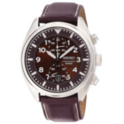 Seiko® Mens Brown Leather Strap Chronograph Watch