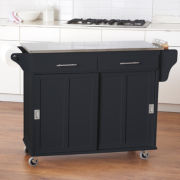 Sliding-Door Rolling Kitchen Cart with Stainless Steel Top and Towel Holder