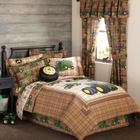 John Deere Tractor and Plaid Comforter