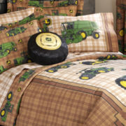 John Deere® Tractor and Plaid Decorative Pillow
