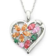 Cubic Zirconia, Brilliant Facets™ Heart Pendant