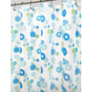 Star Burst Floral Azure Fabric Shower Curtain