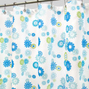 Park B. Smith Star Burst Floral Azure Fabric Shower Curtain