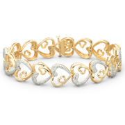 1/10 CT. T.W. Diamond Heart Bracelet