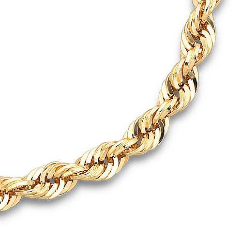 "10K Yellow Gold 4mm 22"" Hollow Glitter Rope Chain"