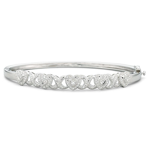 Diamond Heart Bangle 1/10 CT. T.W. Sterling Silver