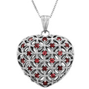 Lead Glass-Filled Ruby Sterling Silver Heart Pendant