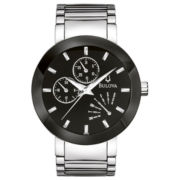 Bulova® Mens Black-Dial Stainless Steel Watch