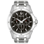 Bulova® Mens Stainless Steel Black Dial Watch