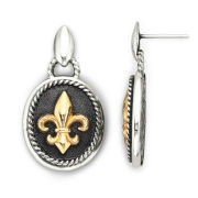 14K Gold Over Sterling Silver Fleur De Lis Earrings