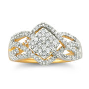 Diamond 3/8 CT. T.W. 14K Gold Over Silver Ring
