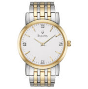 Bulova® Mens 2-Tone Diamond Accent Watch