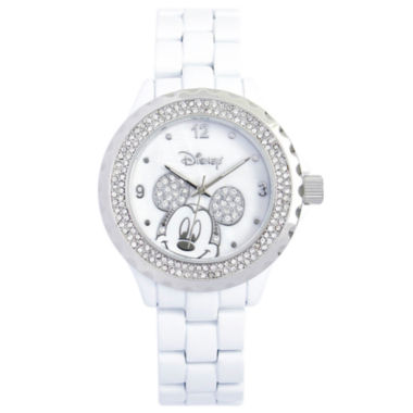 jcpenney.com | Disney White Enamel Crystal Accent Mickey Watch