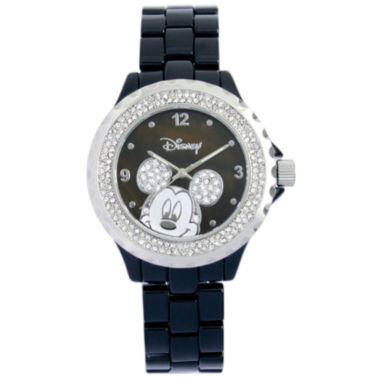 jcpenney.com | Disney Black Enamel Crystal Accent Mickey Watch