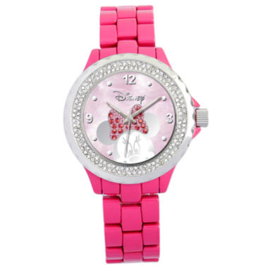 jcpenney.com | Disney Pink Enamel Crystal Accent Minnie Watch