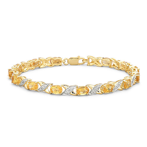 Genuine Citrine & Diamond Accent Bracelet