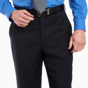 Stafford® Navy Woven Flat-Front Pants–Big & Tall