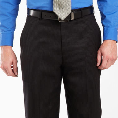 Stafford Black Stripe Dress Pants Portly