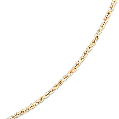 jcpenney.com | 14K Yellow Gold 1.35mm Hollow Rope Chain Necklace