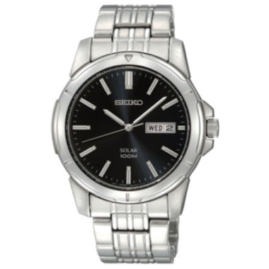 jcpenney.com | Seiko® Mens Black Dial Stainless Steel Solar Watch SNE093