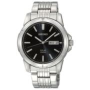 Seiko® Mens Black Dial Stainless Steel Solar Watch