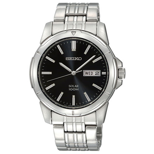 Seiko® Mens Black Dial Stainless Steel Solar Watch SNE093