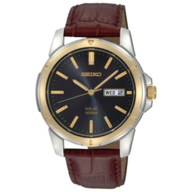 jcpenney.com | Seiko® Mens Brown Leather Strap Solar Watch SNE102