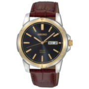 Seiko® Men's Solar Powered Brown Leather Watch