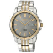 Seiko® Men's Two-Tone Solar Powered Watch