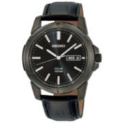 Seiko® Men's Black Solar Technolology Watch