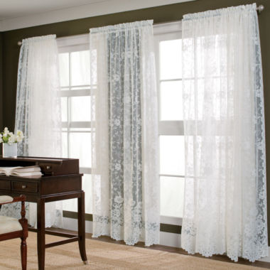 jcpenney.com | JCPenney Home™ Shari Lace Rod-Pocket Sheer Panel