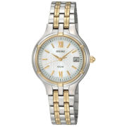 Seiko® Womens Silver-Tone Dial Two-Tone Stainless Steel Solar Watch SUT020