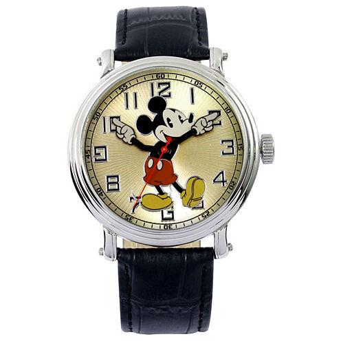 Disney Vintage Mickey Black Leather Strap Watch