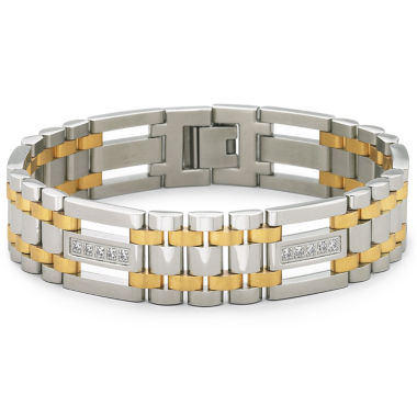 jcpenney.com | Mens Two-Tone Stainless Steel Cubic Zirconia Bracelet