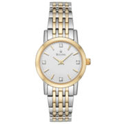 Bulova® Womens Diamond-Accent Two-Tone Watch 98P115