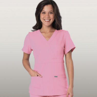 jcpenney.com | Grey's Anatomy™ Womens Scrubs, Mock Wrap Top