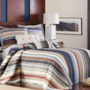 Neutral Retro Chic Cotton Striped Bedspread