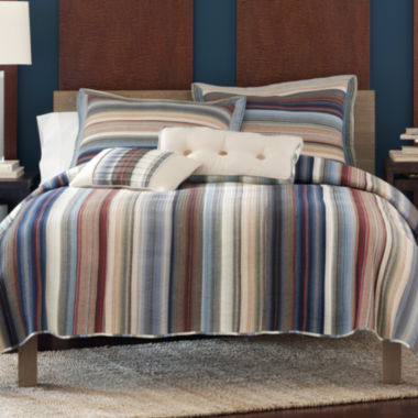 jcpenney.com | Neutral Retro Chic Cotton Striped Quilt & Accessories