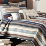 Neutral Retro Chic Cotton Striped Quilt
