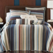 Neutral Retro Chic Cotton Striped Bedspread & Accessories