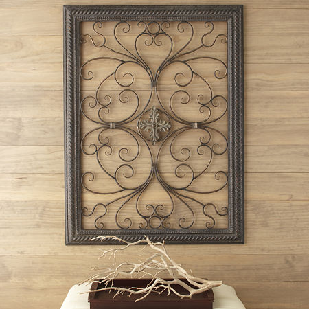 Iron medalion scroll wall art for Iron scroll wall art