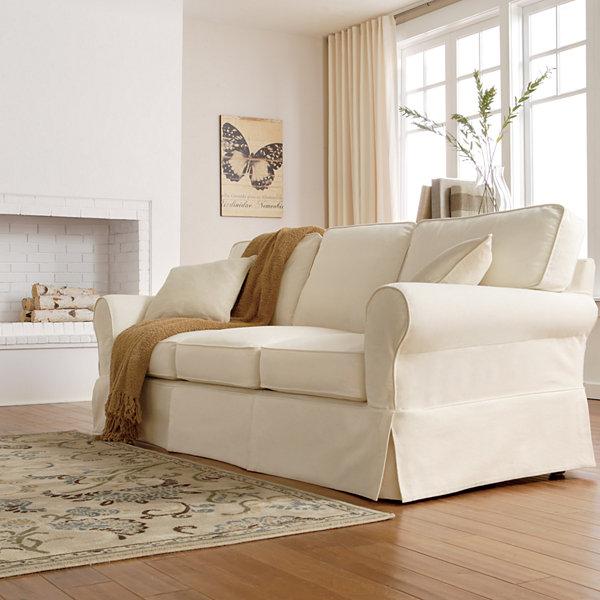 """Friday Twill 91"""" Slipcovered Sofa"""